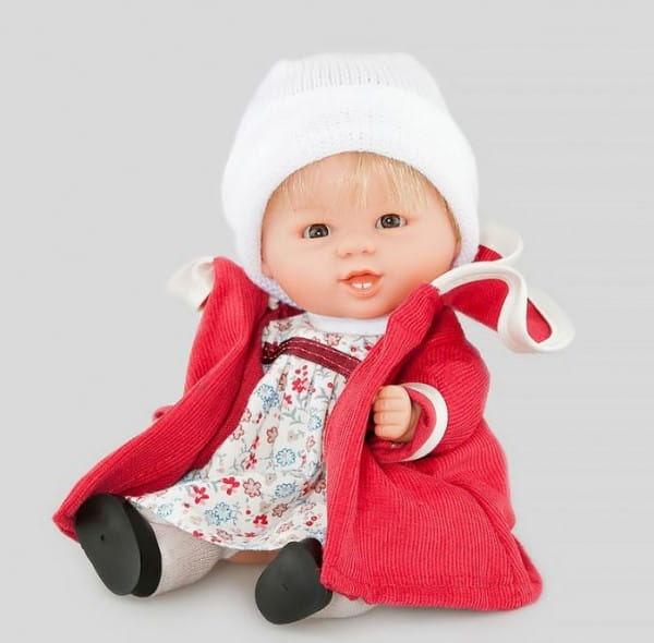 Кукла Carmen Gonzalez Бебетин - 21 см (в нарядном платье и красном пальто)