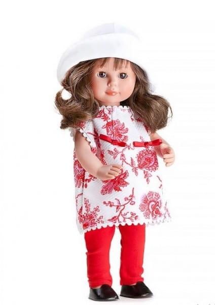 Купить Кукла Carmen Gonzalez Мариэтта - 34 см (в белом платье с рисунком и красных брючках) в интернет магазине игрушек и детских товаров