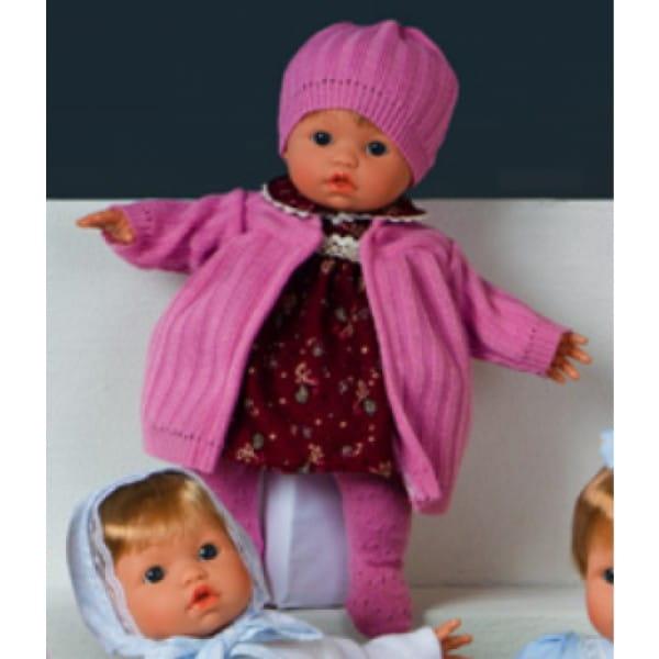 Кукла Carmen Gonzalez 52097 Мончи - 34 см (в вишневом платье и розовом пальто)