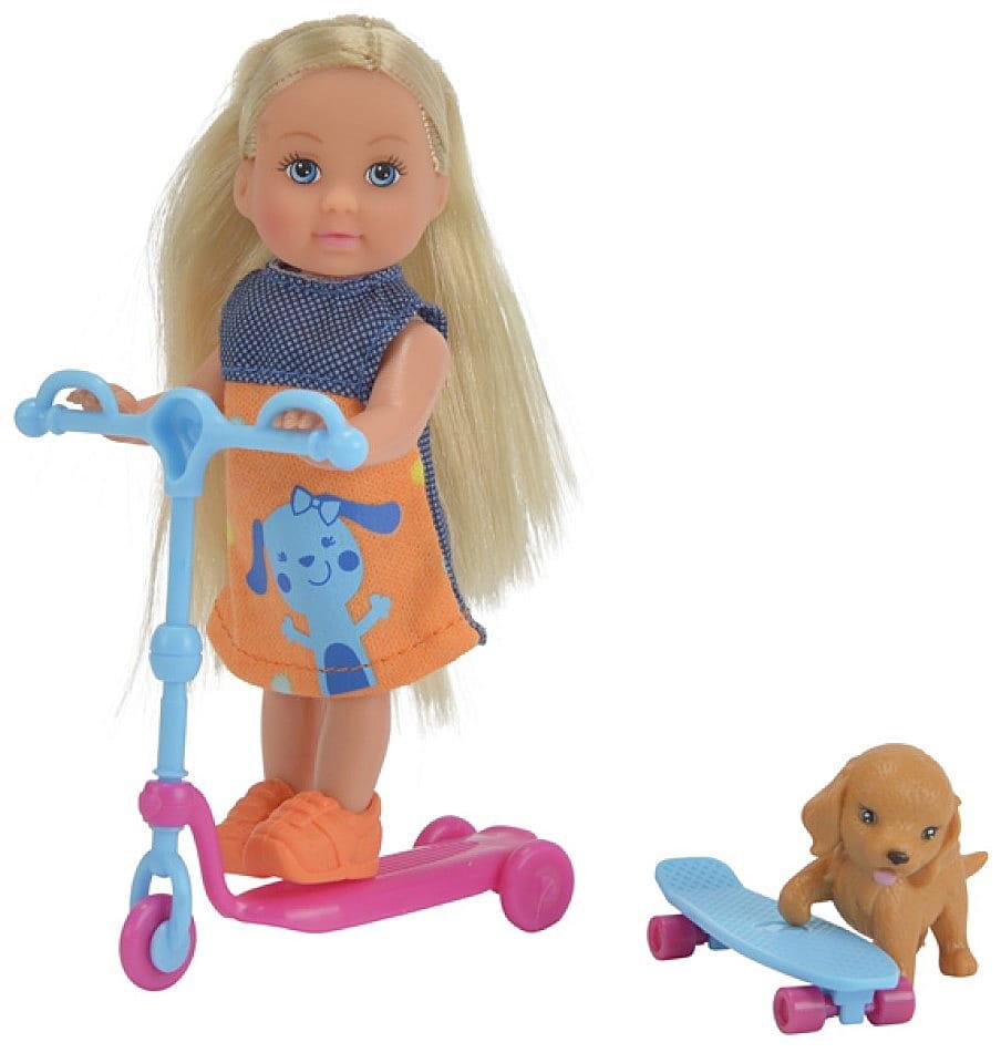 Кукла Evi Еви на скутере, со скейтом и собачкой (SIMBA)