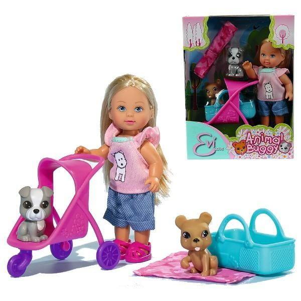 Кукла Evi Еви с двумя собачками и коляской (Simba)