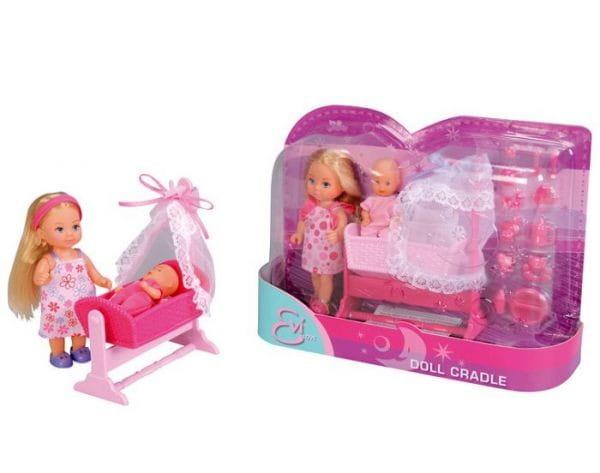 Кукла Evi Еви с малышом в кроватке (SIMBA)