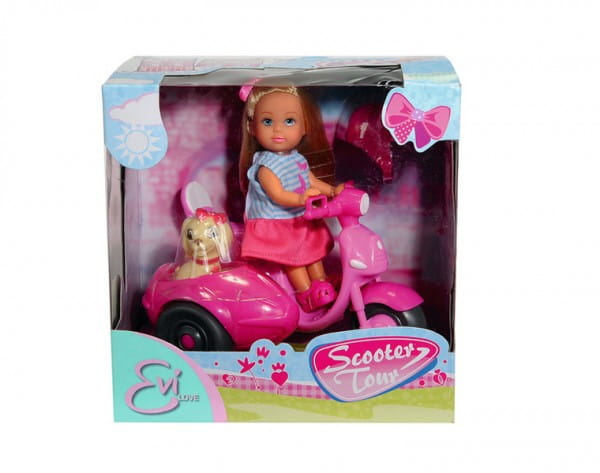 Купить Кукла Evi Еви и ее собачка на мотороллере (Simba) в интернет магазине игрушек и детских товаров