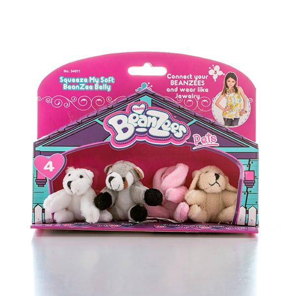 Игровой набор BeanZeez Бинзис Медведь, енот, кролик и песик