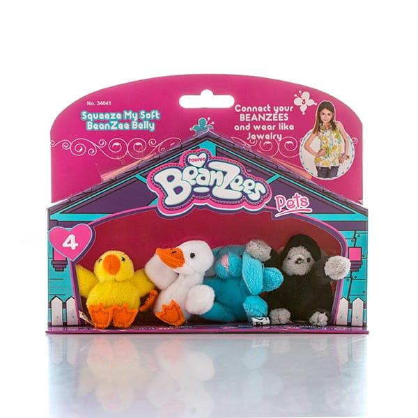 Игровой набор BeanZeez Бинзис Цыпленок, утенок, кролик и горилла