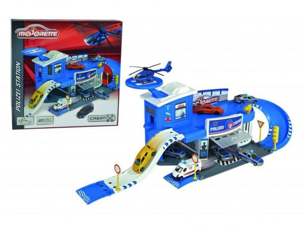 Купить Парковка Majorette Полицейская станция Creatix (с машинкой) в интернет магазине игрушек и детских товаров