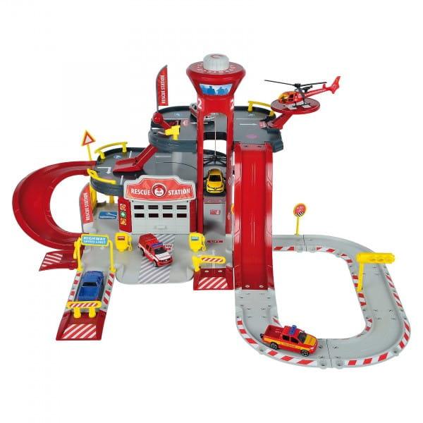 Парковка MAJORETTE Пожарная станция Creatix (с вертолетом и машинкой)