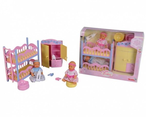 Игровой набор Simba 5036610 Два пупсика в детской спальне