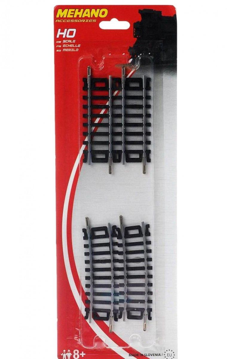 Игровой набор Mehano F234 Прямые и поворотные рельсы - 457,2 мм (4 штуки)