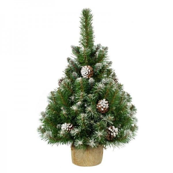 Купить Ель Crystal Trees Триумфальная заснеженная с шишками - 90 см (в мешочке) в интернет магазине игрушек и детских товаров