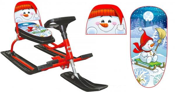 Снегокат со складной спинкой Барс 1187503 Comfort Снеговик 130 (красный)