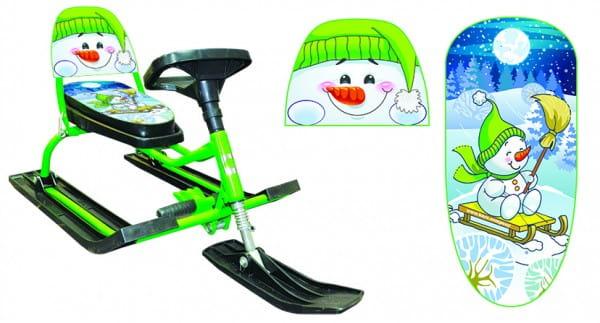 Снегокат со складной спинкой Барс 1187503 Comfort Снеговик 130 (зеленый)