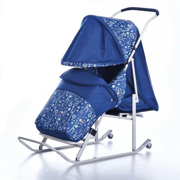 Купить Санки-коляска Hubster Kristy Luxe - синие в интернет магазине игрушек и детских товаров