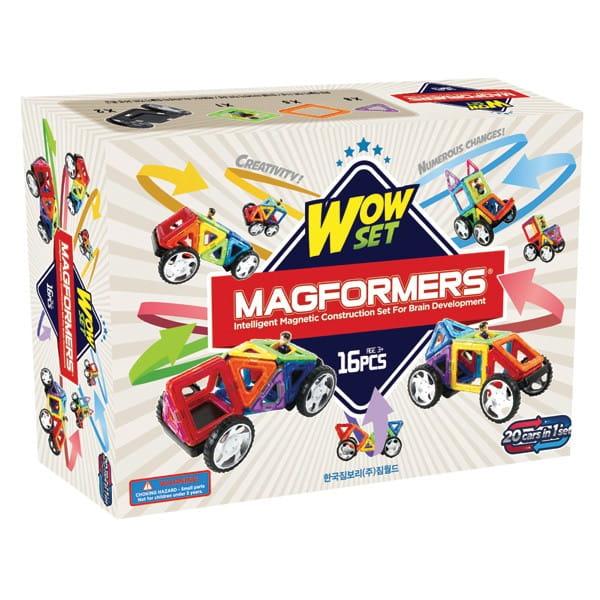 Магнитный конструктор Magformers 707004 (63094) Wow Set с колесами (16 деталей)