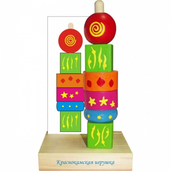 Деревянная пирамидка Краснокамская игрушка Геометрия