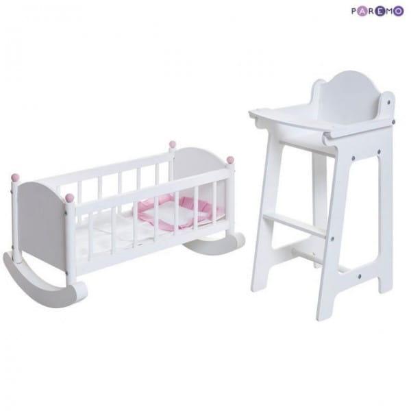 Набор кукольной мебели Paremo - белый (стул и люлька)