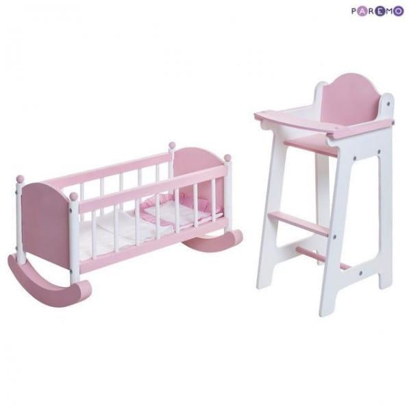 Набор кукольной мебели Paremo - розовый (стул и люлька)