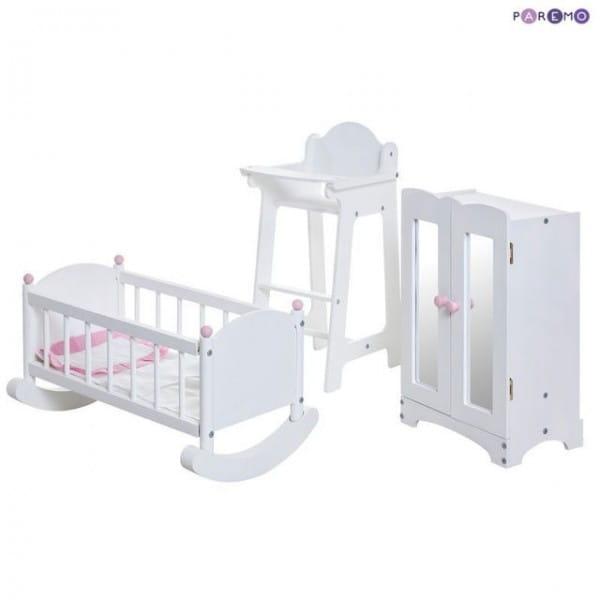 Купить Набор кукольной мебели Paremo - белый (стул, люлька и шкаф) в интернет магазине игрушек и детских товаров