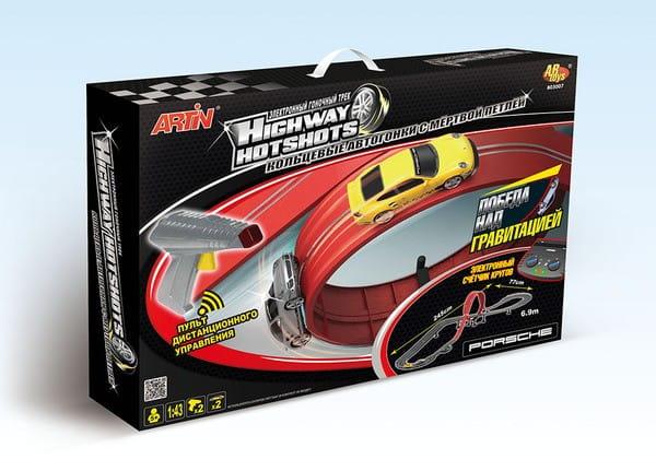 Купить Авторалли в форме двойной петли и 2 машинки Porsche (Artin) в интернет магазине игрушек и детских товаров