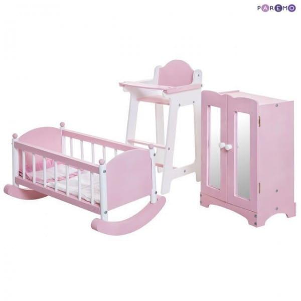 Купить Набор кукольной мебели Paremo - розовый (стул, люлька и шкаф) в интернет магазине игрушек и детских товаров