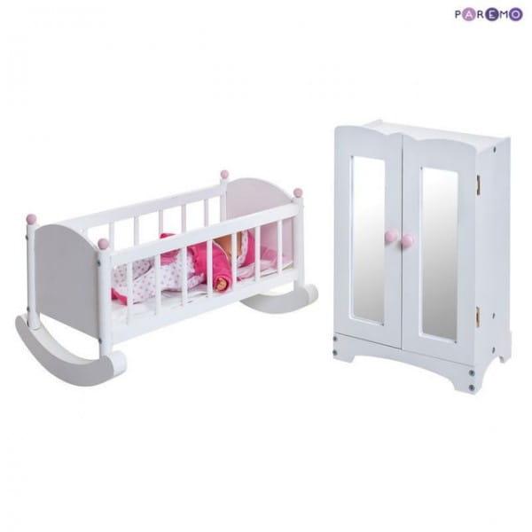 Набор кукольной мебели Paremo - белый (шкаф и люлька)