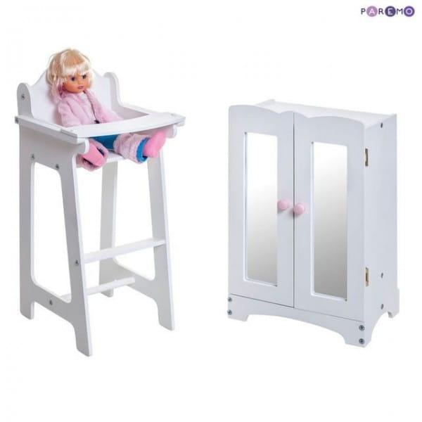 Купить Набор кукольной мебели Paremo - белый (шкаф и стул) в интернет магазине игрушек и детских товаров