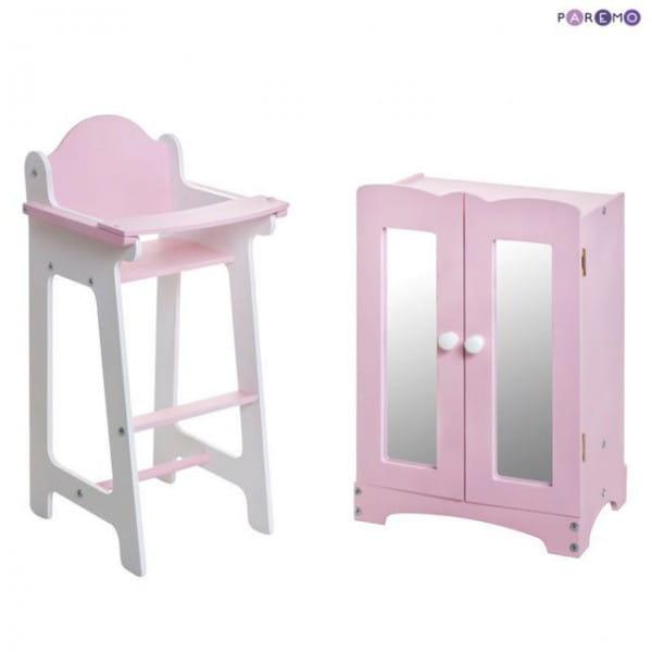 Купить Набор кукольной мебели Paremo - розовый (шкаф и стул) в интернет магазине игрушек и детских товаров