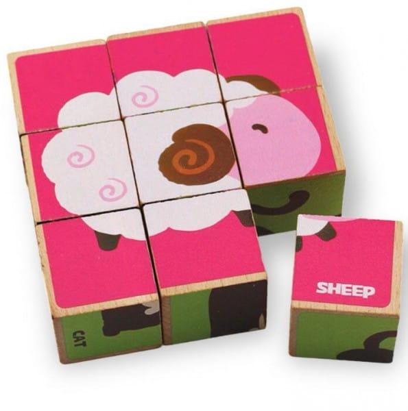 Деревянный пазл-кубики Benho 14011 Домашние животные