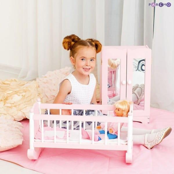 Набор кукольной мебели Paremo - розовый (шкаф и люлька)