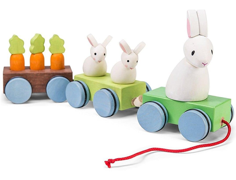 Деревянная каталка-поезд Le Toy Van PL026 Зайчата с морковкой