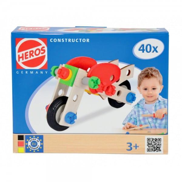 Конструктор Heros Мотоцикл - 40 деталей (2 варианта сборки)
