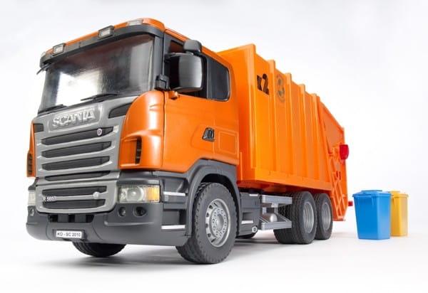 Мусоровоз Bruder Scania - оранжевый
