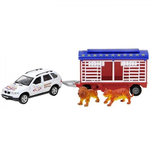 Игровой набор Welly Цирк Volvo XC90 1:24 с прицепом 1:24 - белый