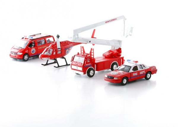 Игровой набор Welly 98160-4C Пожарная служба - 4 штуки