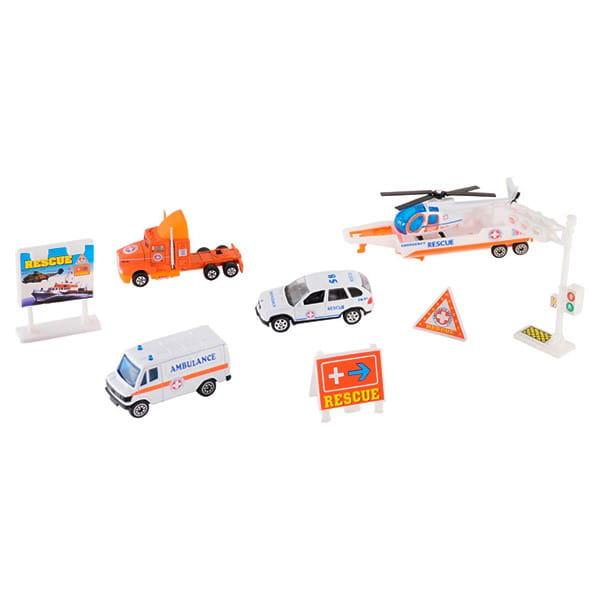 Игровой набор Welly 98630-9B Служба спасения Скорая помощь - 9 штук
