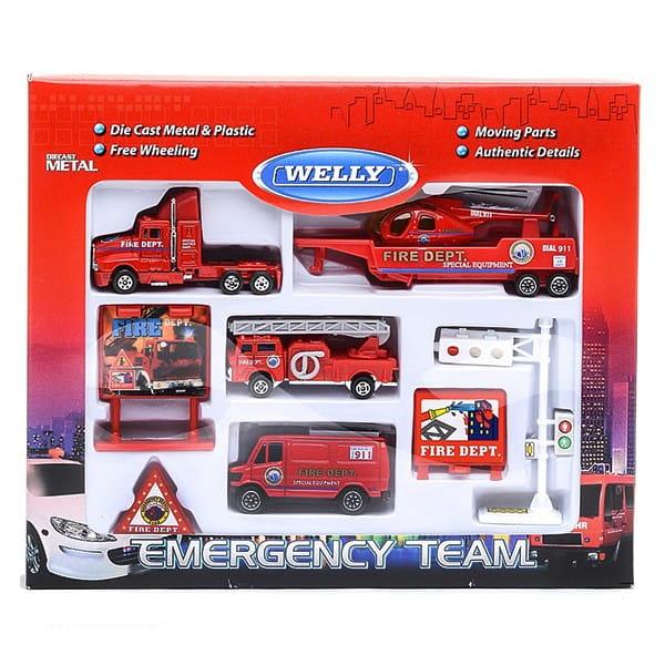 Игровой набор Welly Служба спасения Пожарная команда - 9 штук