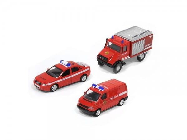 Игровой набор Welly 99610-3C Пожарная служба - 3 штуки