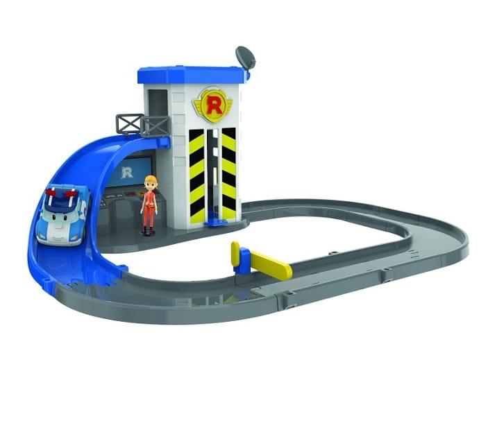 Игровой набор Robocar Poli 83316 Подъемник с металлической машинкой Поли и фигуркой Джин