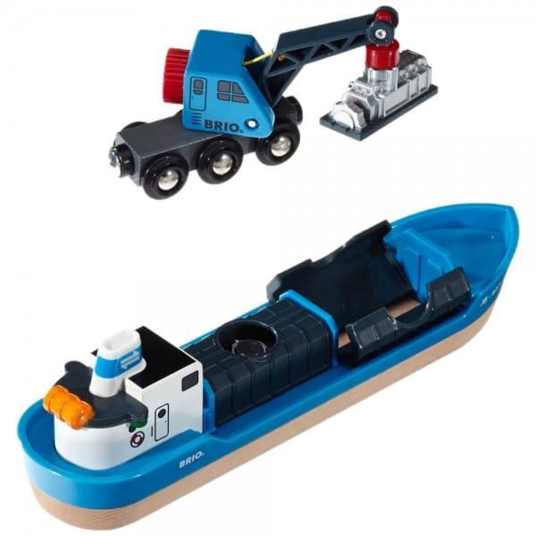 Игровой набор Brio 33534 Корабль с краном-погрузчиком и грузом