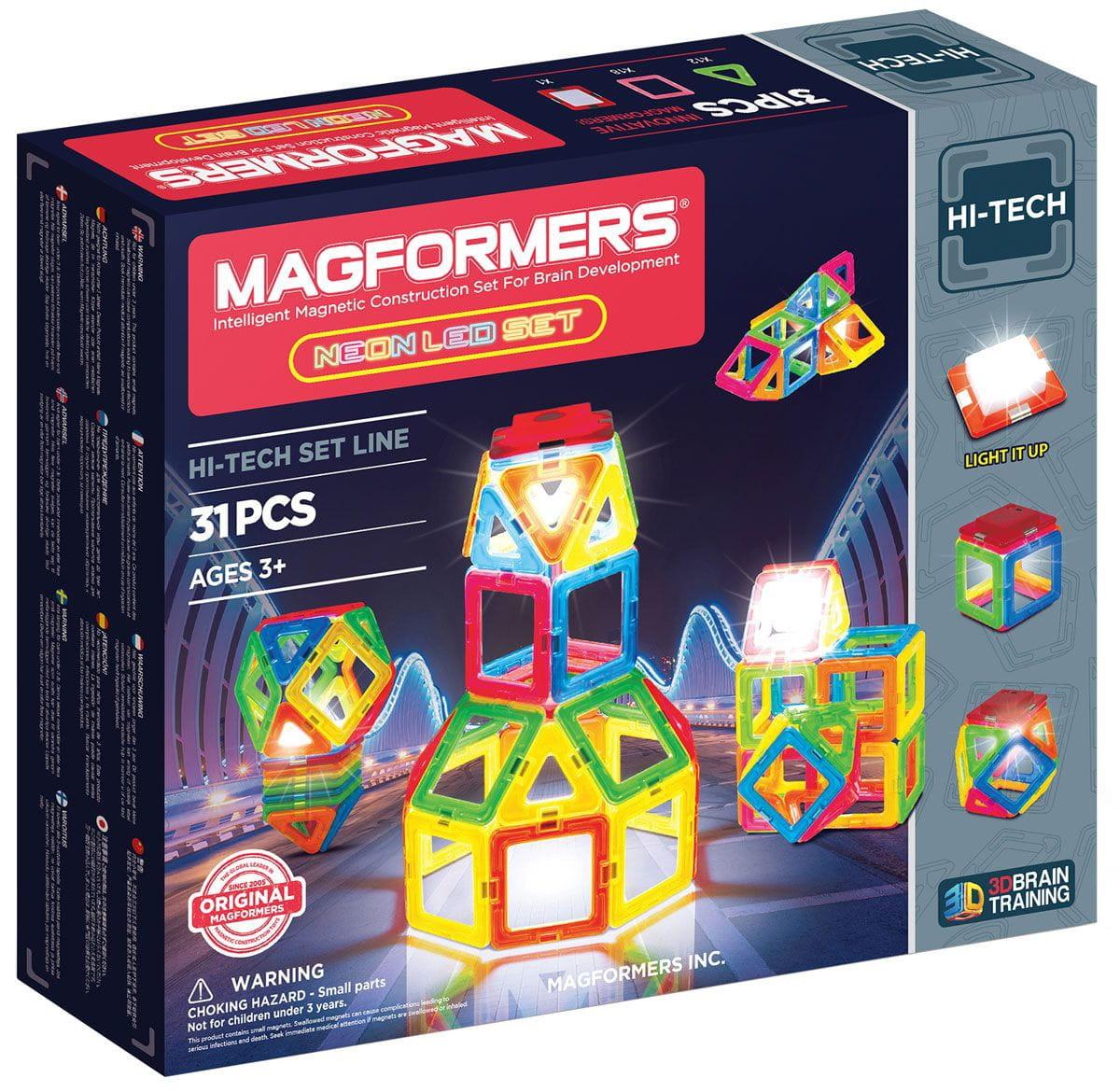 Магнитный конструктор Magformers 709007 Neon Led set (31 деталь)
