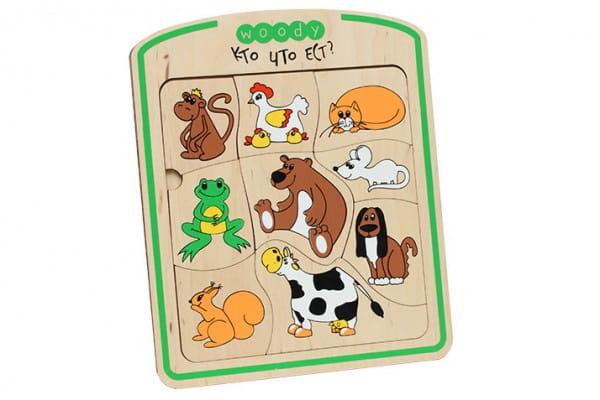 Деревянная рамка-вкладыш Woody О1409 Кто что ест?