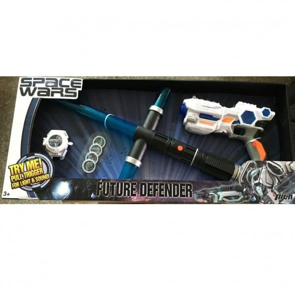 Набор оружия 1toy Т58795 со светом и звуком - синий (4 предмета)