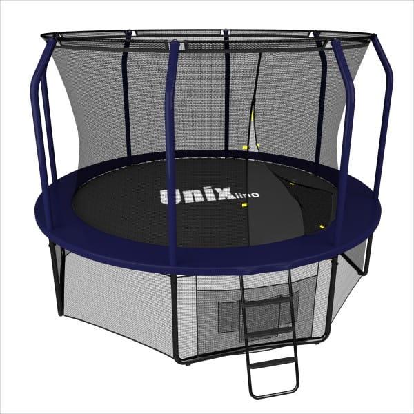 Батут UNIX line Supreme с внутренней сеткой и лестницей 12 футов - 366 см (голубой)