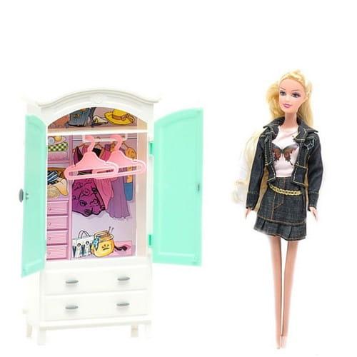 Игровой набор 1toy Т54494 Кукла и гардеробная