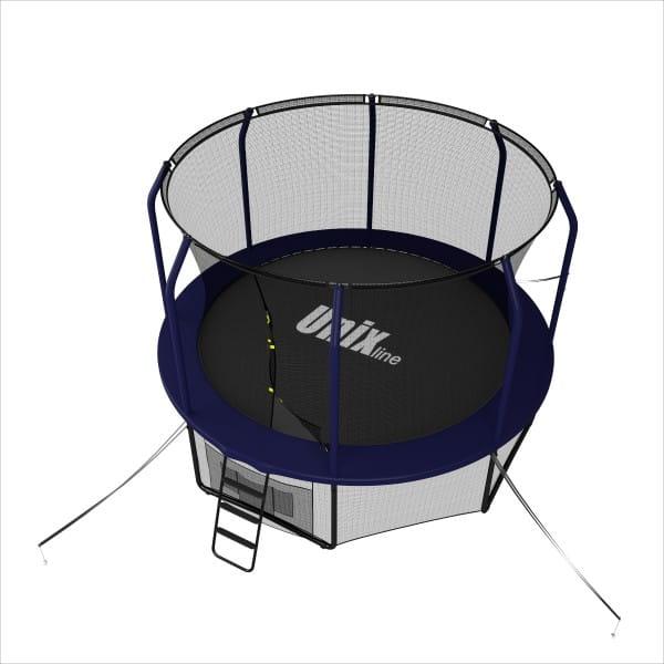 Батут UNIX line Supreme с внутренней сеткой и лестницей 16 футов - 488 см (голубой)