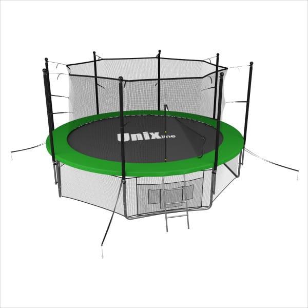 Батут Unix line Supreme с внутренней сеткой и лестницей 14 футов - 427 см (зеленый)