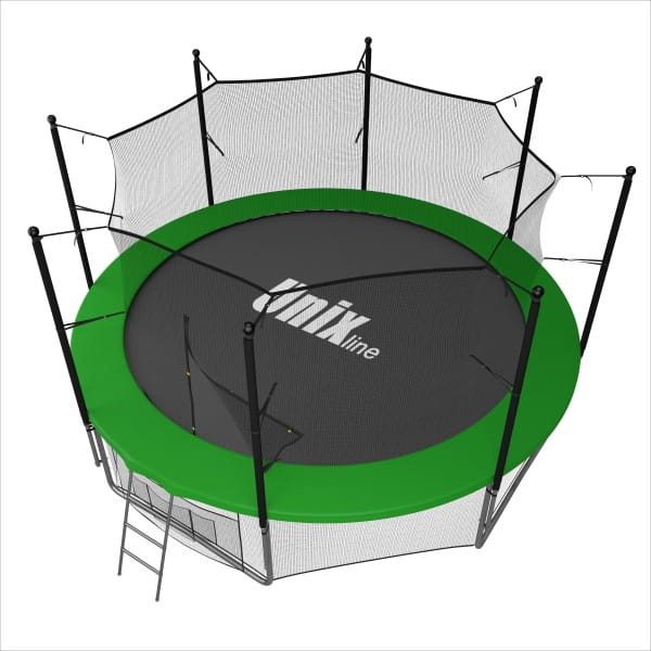 Батут UNIX line Supreme с внутренней сеткой и лестницей 16 футов - 488 см (зеленый)