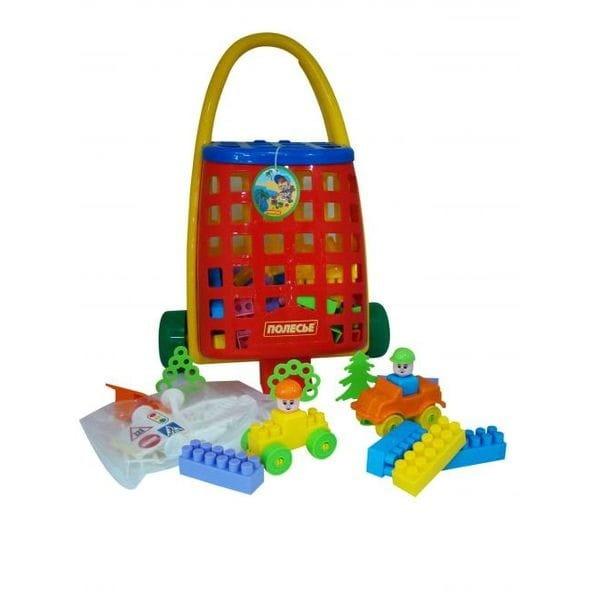 Игровой набор Palau Toys 44372_PLS Тележка и конструктор Строитель - 101 элемент
