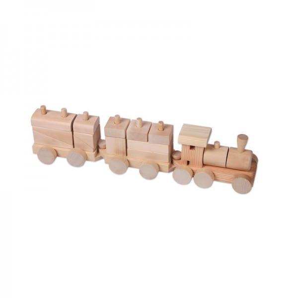 Деревянный конструктор-паровозик PAREMO (неокрашенный, в пакете)
