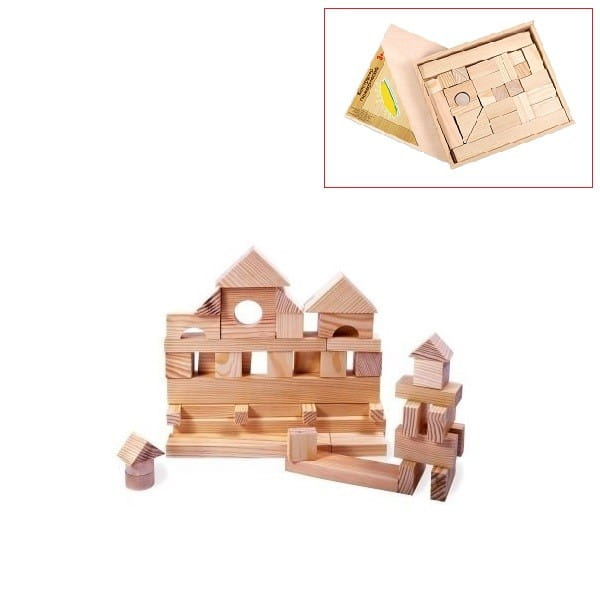 Деревянный конструктор PAREMO - 35 деталей (неокрашенный, в деревянном ящике)